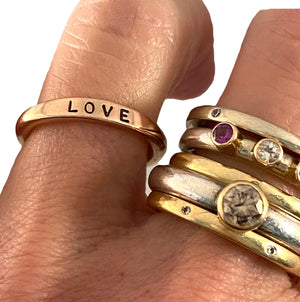 18K Solid Rose Gold 'LOVE' Ring