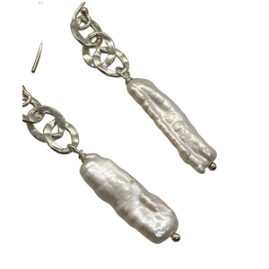White BIWA Pearl Chain Drop Earrings