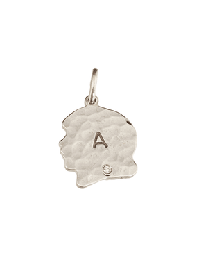 Personalized Sterling Silver Hammered Girl & Diamond Charm