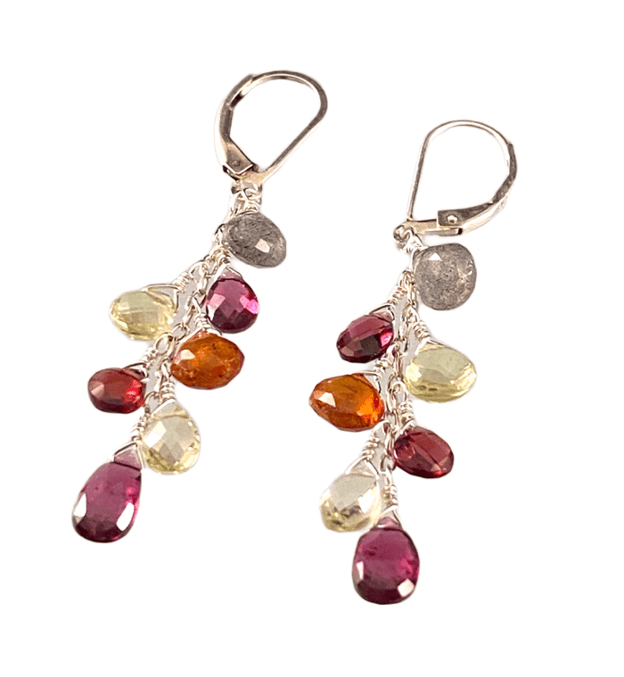 #231 Garnet Topaz Lemon Quartz Citrine Labradorite Silver Waterfall Gemstone Earrings