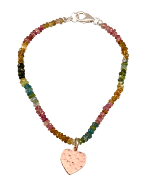 Watermelon Tourmaline Sterling Silver Heart Charm Bracelet