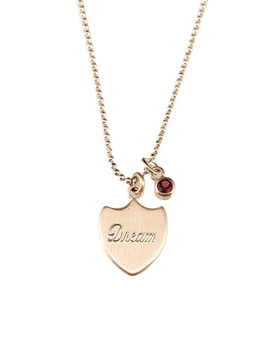 Dream Shield 2 Necklace with Rhodolite Garnet Charm