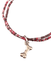 Dog Bone Charm Double Strand Beaded Anklet Purple & Red