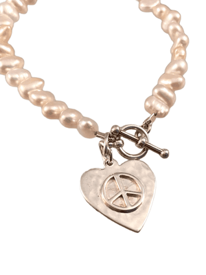 Pink Freshwater Pearl Sterling Silver Heart Charm Toggle Bracelet