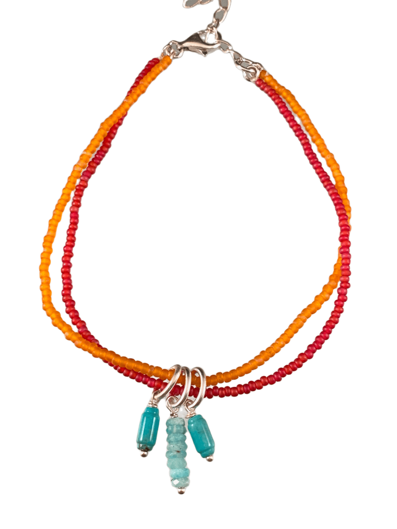 Turquoise Charm Double Strand Beaded Anklet Red & Orange