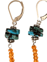 Sterling Silver Turquoise Disc and Faceted Carnelian Earrings