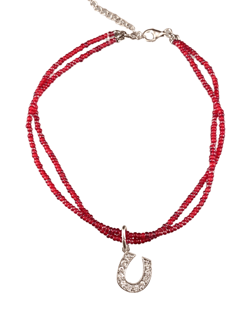CZ Horseshoe Charm Double Strand Beaded Anklet Mixed Reds