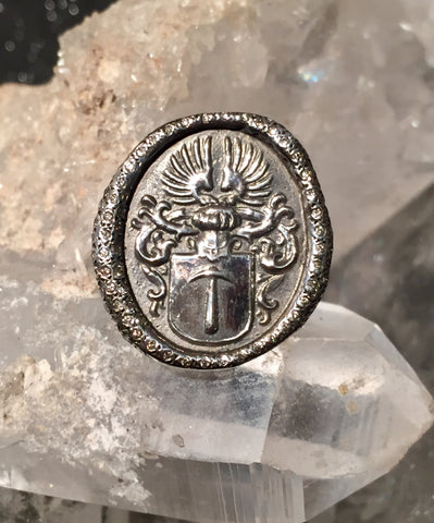 Sterling and Diamond Coat of Arms Ring size 6