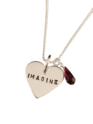 "16"" Sterling Silver 'Imagine' Heart Necklace with Garnet Gemstone Drop"