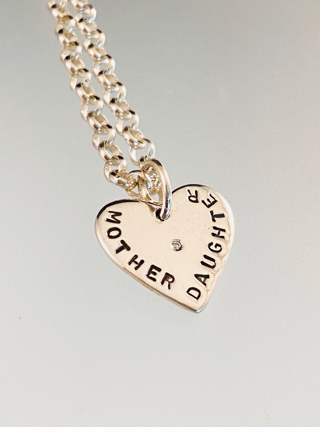 "18"" Sterling Mother Daughter Heart with Diamond Necklace"