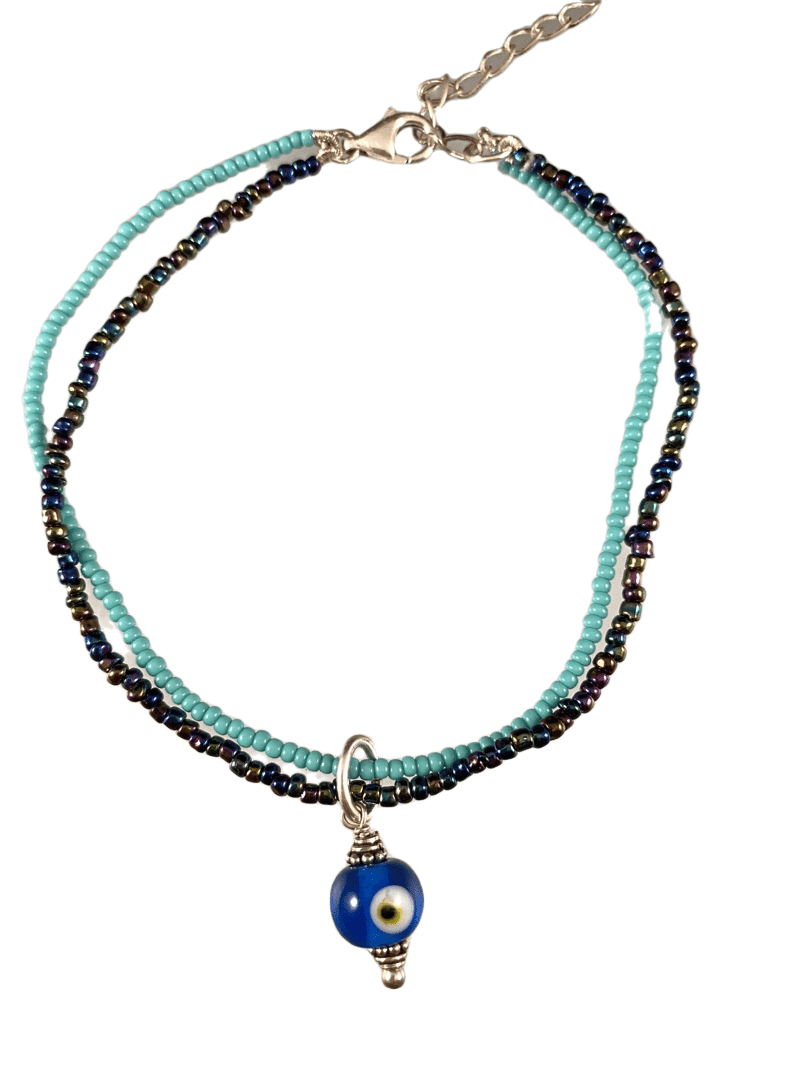 Evil Eye Double Strand Beaded Anklet Turquoise & Iridescent