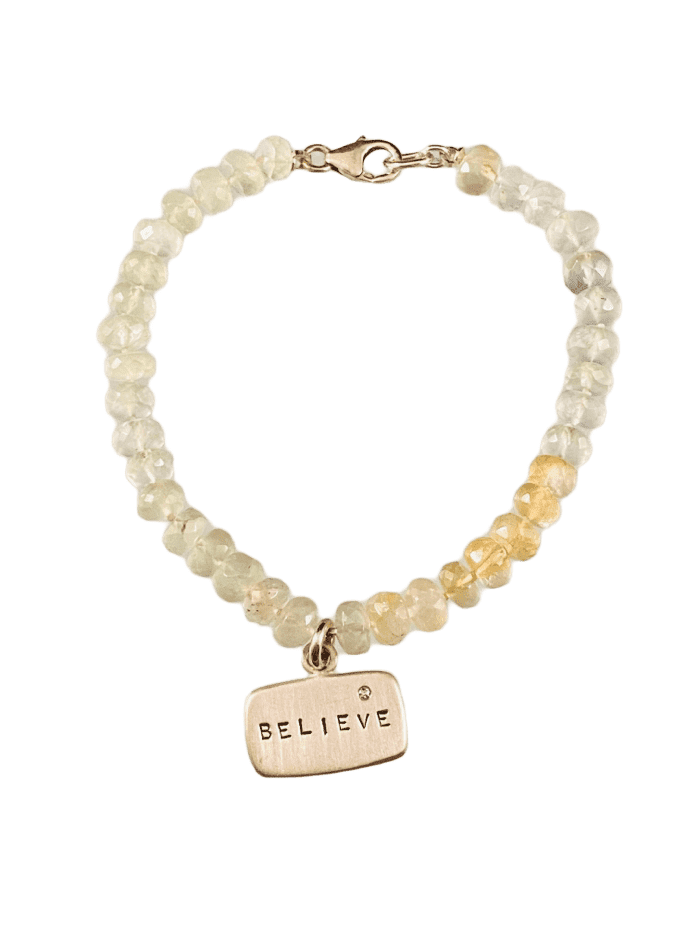 Faceted Prehnite Sterling & Diamond Believe Tag Bracelet