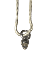 "24"" Sterling Silver Snake Chain Necklace with Quartz Bullet"
