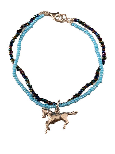 Sterling Horse Charm Turquoise Glass Double Strand Beaded Bracelet