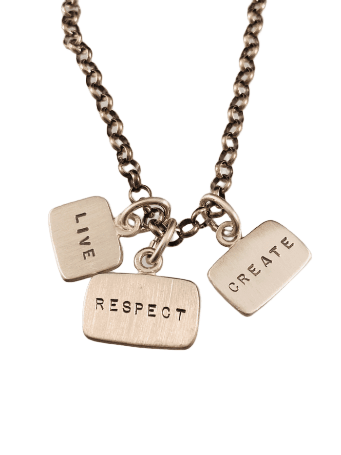 "18"" Sterling Silver Live Respect Create Tag Charm Necklace"