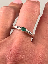 Sterling Silver Stamped Gemmy Emerald Ring Size 7 Handmade