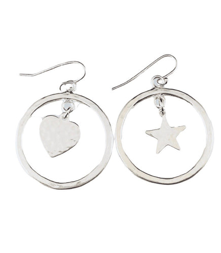 Sterling Heart & Star Charm Earrings
