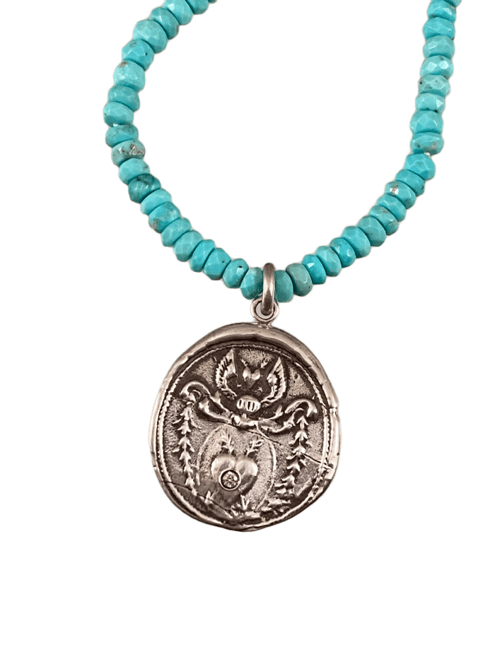 "16"" Turquoise & Sterling Silver Heart Crest Necklace with Diamond"