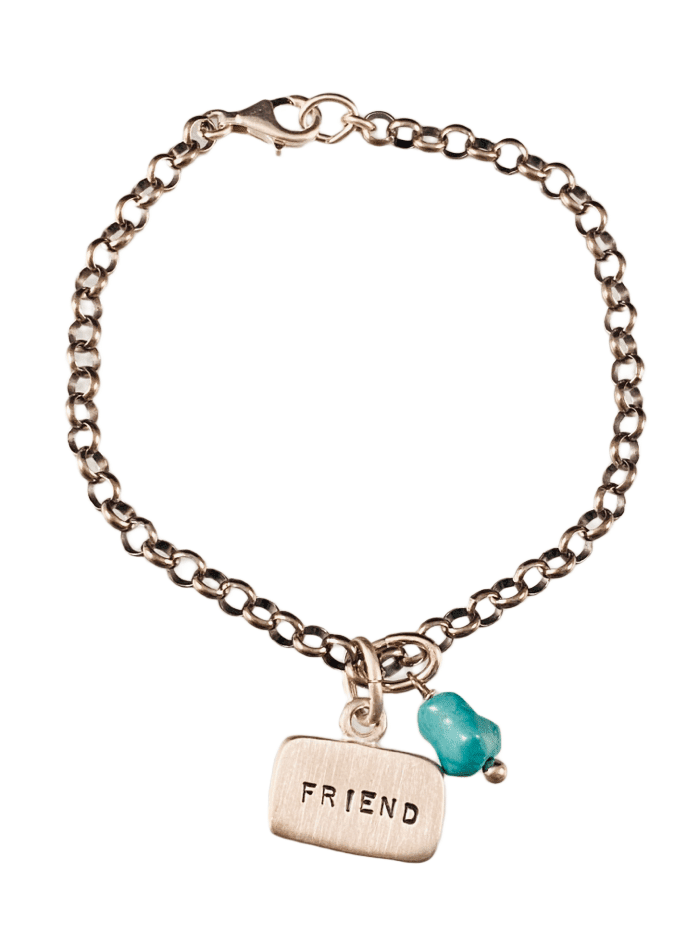 Friend Sterling Silver Tag Charm Bracelet with Turquoise Drop