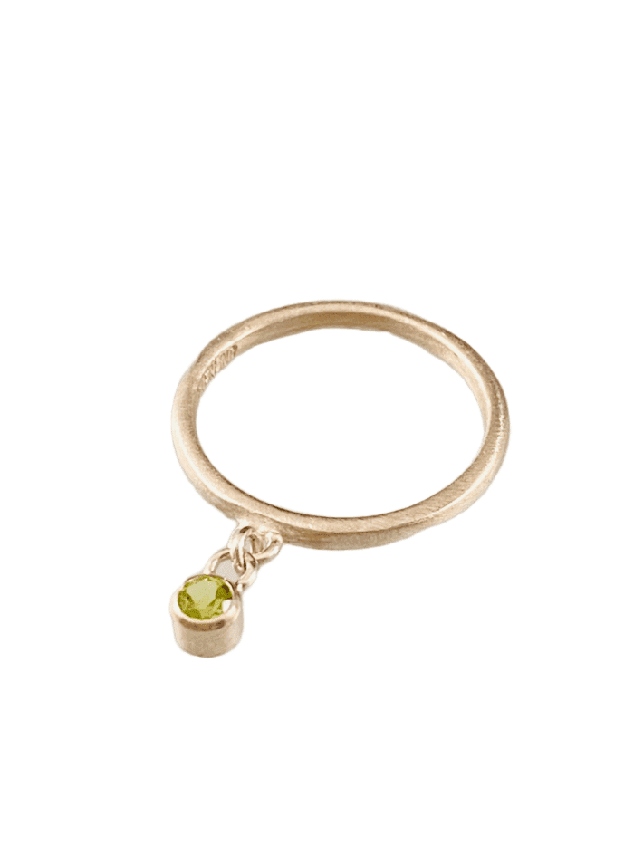 Sterling & Faceted Peridot Gemstone Charm Ring