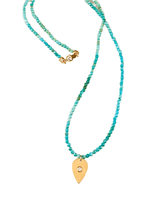 "#1001 18"" Faceted Turquoise Beads with 14k Gold Diamond Tear Drop Charm Necklace"