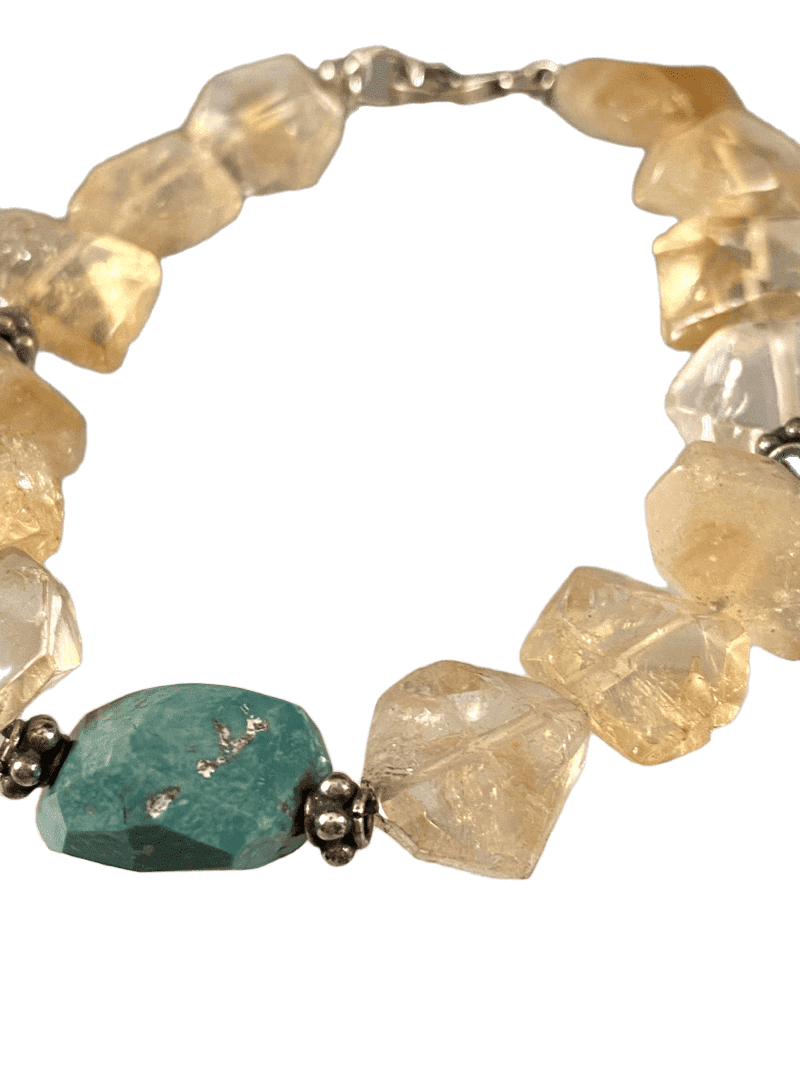 Citrine and Turquoise Faceted Nugget Gemstone Beaded Bracelet