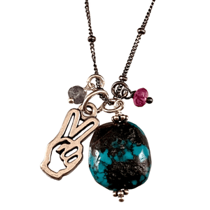 """18"""" Turquoise Drop with Peace Hand and Pink Tourmaline & Iolite Gem Charm Necklace"""