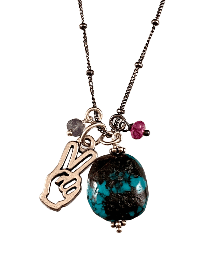 "18"" Turquoise Drop with Peace Hand and Pink Tourmaline & Iolite Gem Charm Necklace"