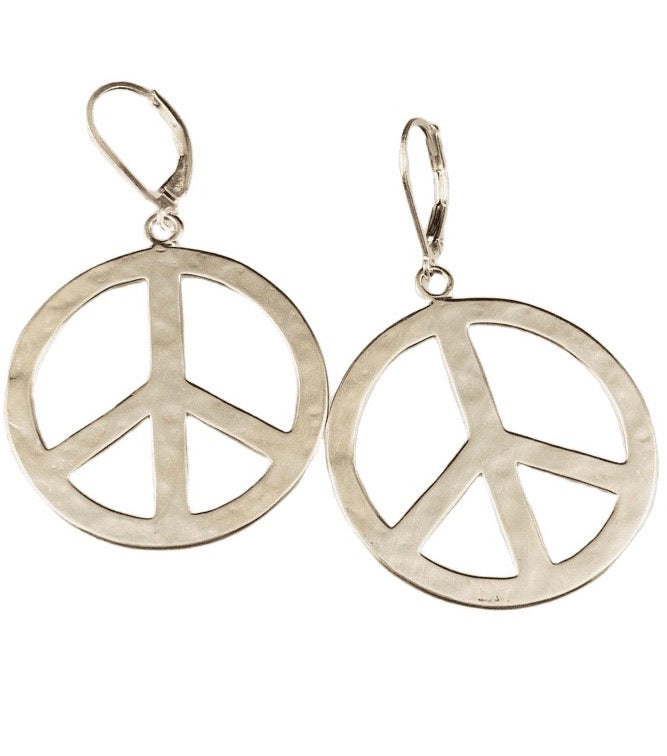 Sterling Silver Large Peace Sign Earrings