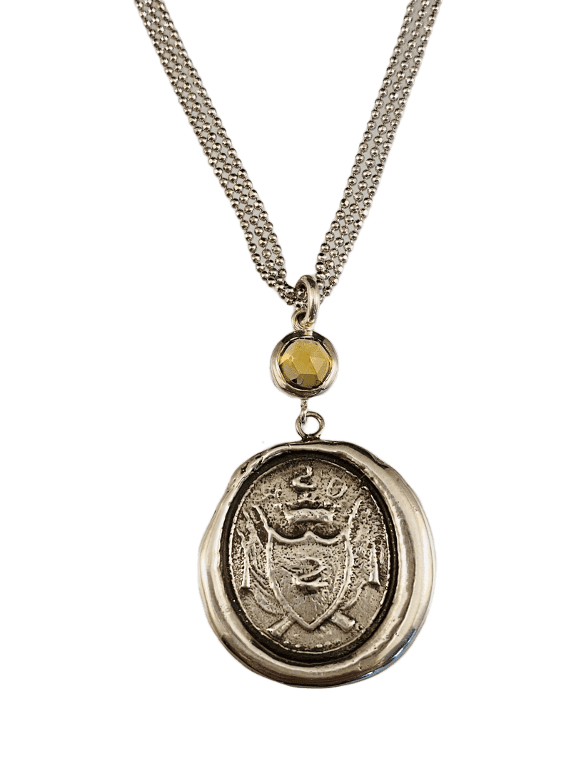 "18"" Sterling Silver Crest Necklace with Rose Cut Citrine"