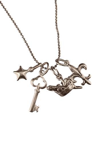 "16"" Magic Charm Necklace with Star Key Scepter and Fleur De Lis Charms"