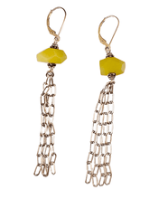 Sterling Fringed Chain Earrings in Olive Jade