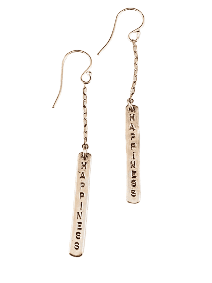Hammered Sterling Happiness Matchstick Earrings