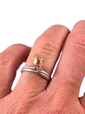 Sterling & 14K Gold Tiny Angel Wing Charm Ring