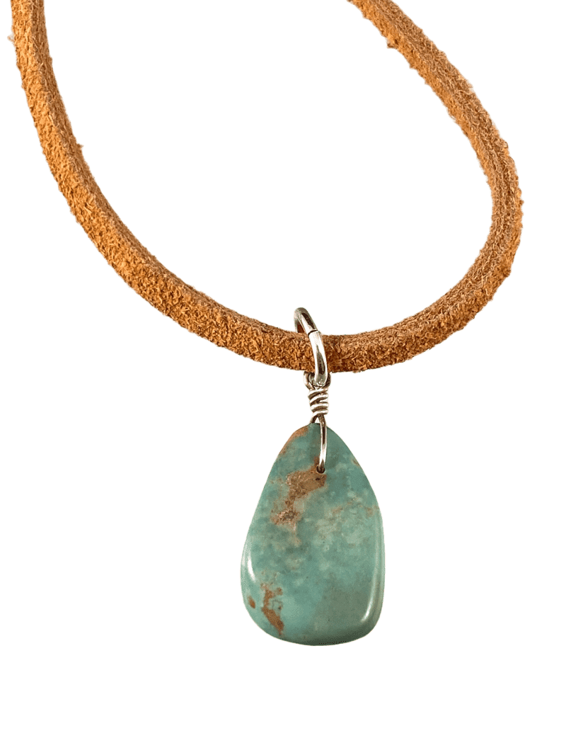 "16"" Turquoise Teardrop on Tan Suede Necklace"