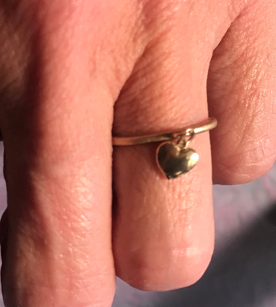 14K Solid Gold Heart Charm Ring