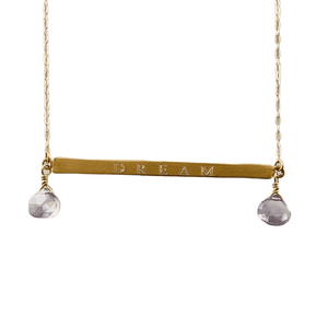 """18"""" 14k Gold Dream ID Necklace with Iolite Gems"""