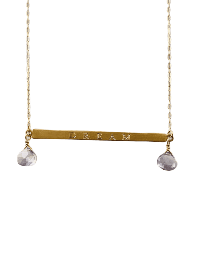 "18"" 14k Gold Dream ID Necklace with Iolite Gems"