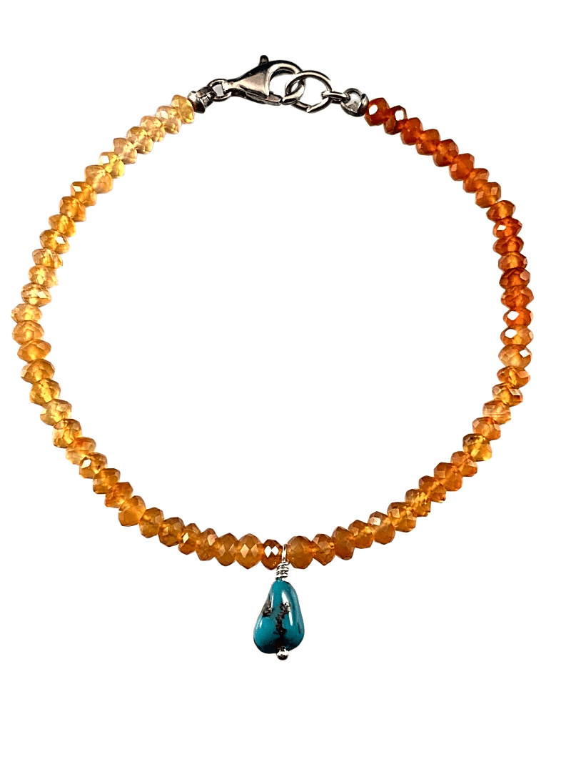 Graduated Faceted Carnelian Bead Bracelet with Turquoise Charm