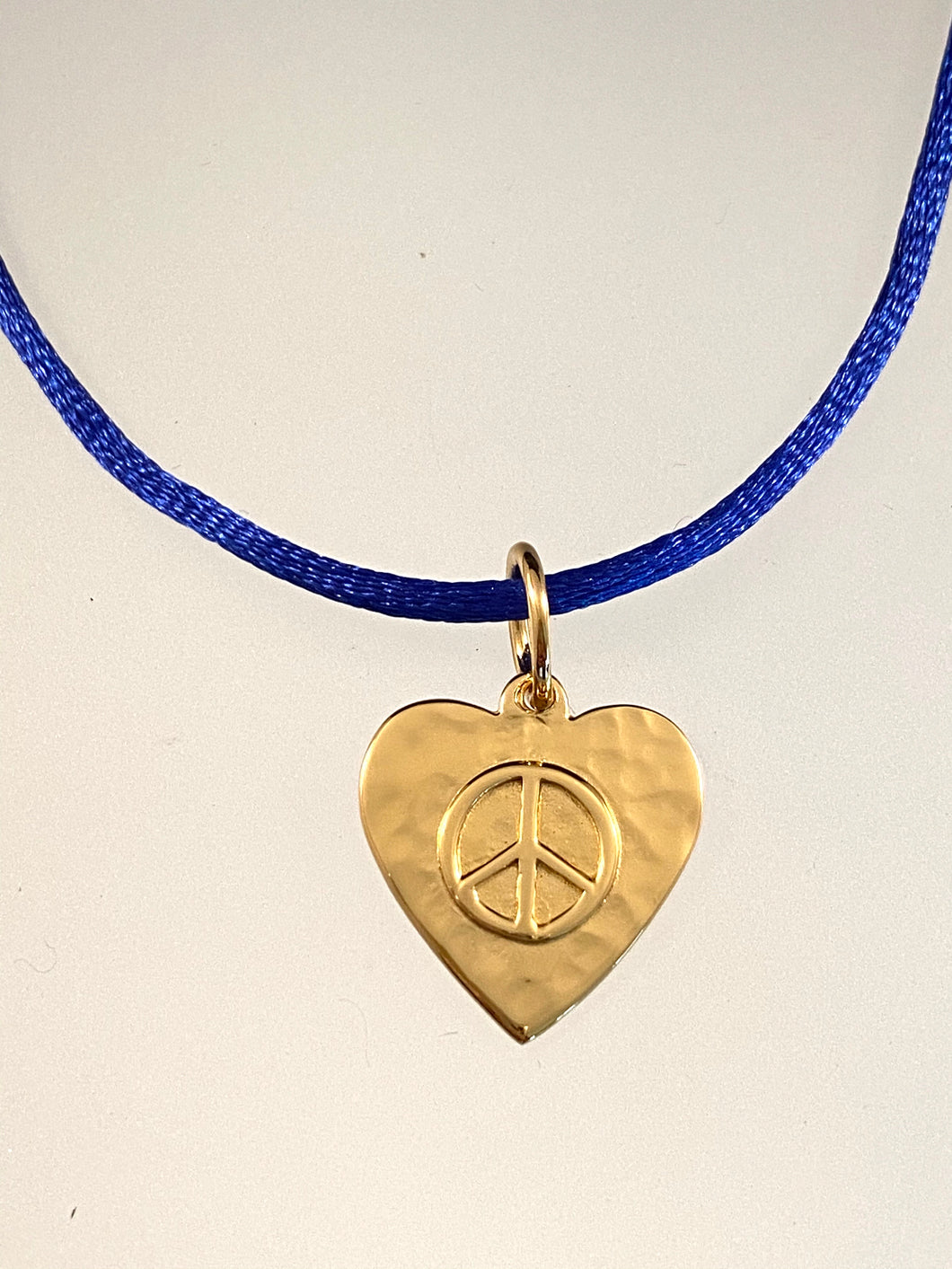 Yellow Gold Peace Heart on Royal Blue Satin Cord