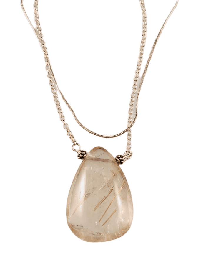 "16"" Large Rutilated Quartz Teardrop on Sterling Silver Double Strand Chain"