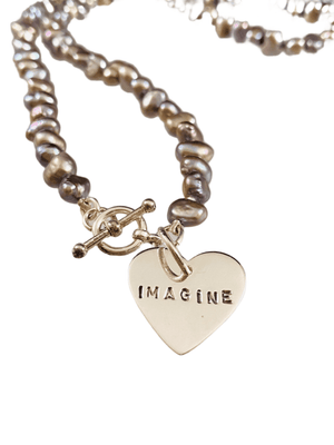 Sterling Imagine Heart Grey Pearl Necklace