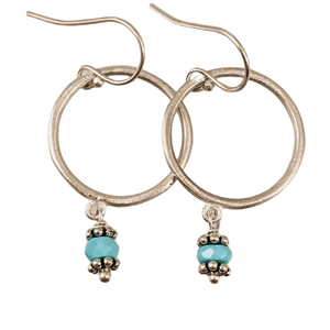 Sterling Circle and Turquoise Drop Earrings