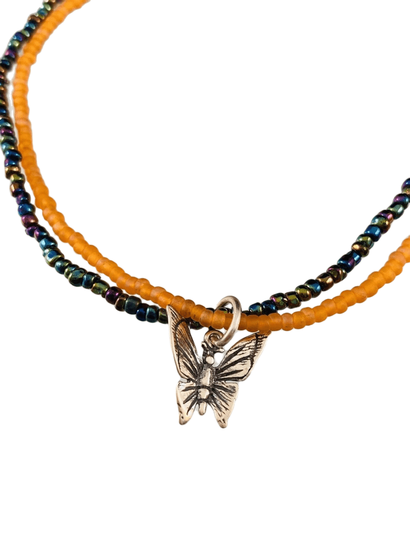 Butterfly Charm Double Strand Beaded Anklet Orange & Iridescent