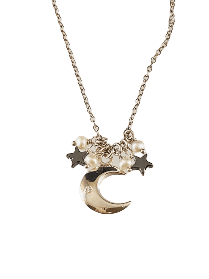 "16"" Crescent Moon Star & White Pearl Gemstone Charm Necklace"