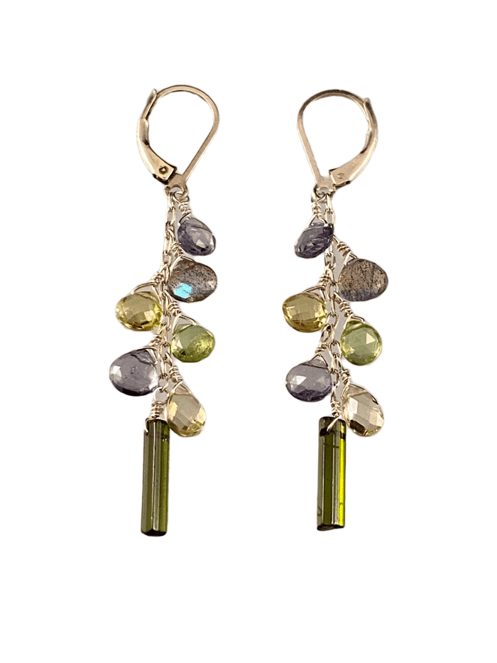 #228 Chrome Diopside Lemon Quartz Peridot Iolite Silver Waterfall Gemstone Earrings