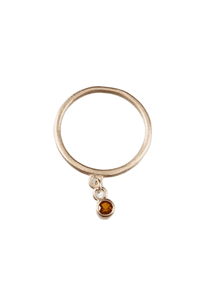 Sterling & Faceted Citrine Gemstone Charm Ring