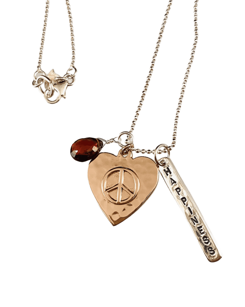 "18"" Sterling & Rose Gold Peace Heart Charm Necklace with Garnet"