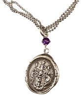 "18"" Sterling Silver Crest Necklace with Amethyst"
