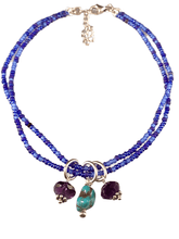 Turquoise & Amethyst Double Strand Beaded Anklet Mixed Blues